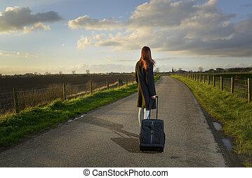 staand, haar, straat, koffer, meisje, vluchteling