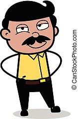 staand, indiër, vader, -, illustratie, gezicht, vector, eenvoudig, het glimlachen, spotprent, man