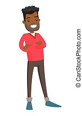 staand, ineengevouwen , jonge, arms., afrikaanse man
