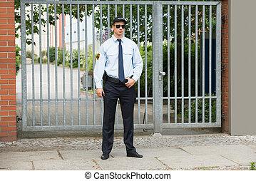 staand, ingang, mannelijke , conducteur, veiligheid