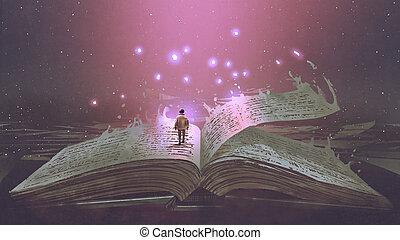 staand, jongen, boek, magisch