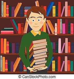 staand, jongen, houden, bibliotheek, boekjes , tegen, student, boekenplank, stapel