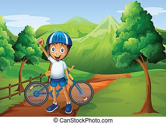 staand, jongen, zijn, weg, fiets
