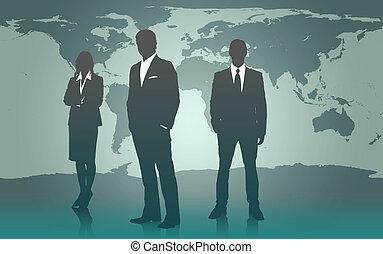 staand, kaart, businesspeople, tegen, wereld