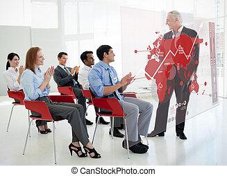 staand, kaart, zakenlui, handgeklap, stakeholder, diagram,...