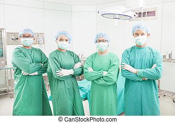 staand, kamer, teams, chirurgisch, professioneel, chirurg