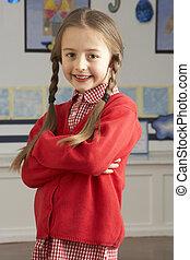 staand, klaslokaal, school, primair, pupil, vrouwlijk, verticaal