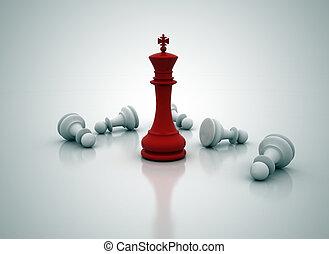 staand, koning, op, -, spel, schaakspel