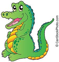 staand, krokodil, spotprent