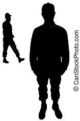 staand, man, silhouette