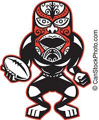 staand, maori, rugby, masker, speler, bal