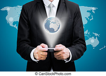 staand, marke, beweeglijk, globaal, hand, telefoon, zakenman, houden, houding