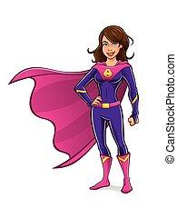 staand, meisje, superhero
