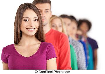 staand, mooi, hen, vrouw, mensen, jonge, terwijl, voorkant, het glimlachen, row., roeien