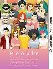 staand, multi, concept, groep, mensen, samen, 5, achtergrond, etnische verscheidenheid, vrolijke