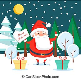 staand, nacht, claus, bos, kerstman, winter