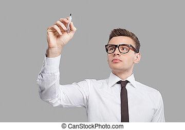 staand, nadenkend, hemd, jonge, tegen, grijze , terwijl, plank, achtergrond, board., vastknopen, schrijvende , effekt, transparant, man
