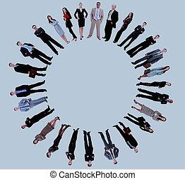 staand, ongeveer, zakenlui, collage, cirkel, lege