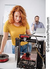 staand, ontwerper, printer, voorkant, professioneel, blij, 3d