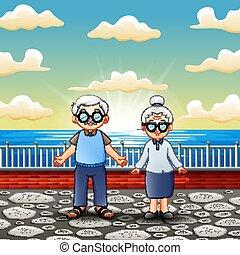 staand, paar, oud, zee, vrolijke
