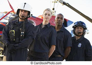 staand, paramedics, medevac, verticaal, voorkant