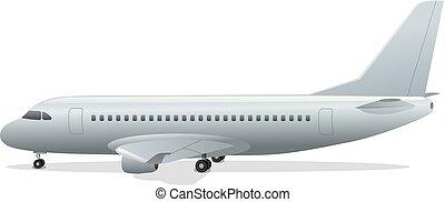 staand, passagier, vliegtuig, luchthaven