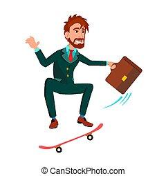staand, plat, aktentas, skateboard, illustratie, aandrangen, vector, zakenman, spotprent