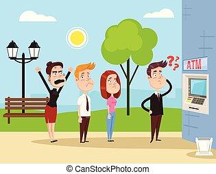 staand, plat, concept, mensen, boos, wachten, illustratie, atm., vector, waanzinnig, karakters, lijn, spotprent