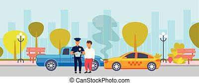 staand, plat, concept, politie, kapot, auto, op, politieagent, bestuurder, schrijvende , botsing, rapport, ongeluk, officier, achtergrond, voertuig, cityscape, botsing, horizontaal, straat