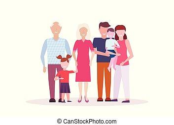 staand, plat, multi, volle, vrouwlijk, gezin, generatie, grootouders, vrijstaand, samen, kinderen, lengte, ouders, karakters, horizontaal, mannelijke , spotprent, vrolijke