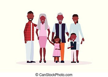 staand, plat, multi, volle, vrouwlijk, gezin, generatie, grootouders, vrijstaand, samen, kinderen, lengte, ouders, karakters, afrikaanse amerikaan, horizontaal, mannelijke , spotprent, vrolijke