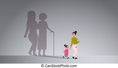 staand, plat, vrouw, dochter, vasthouden, aspiratie,...