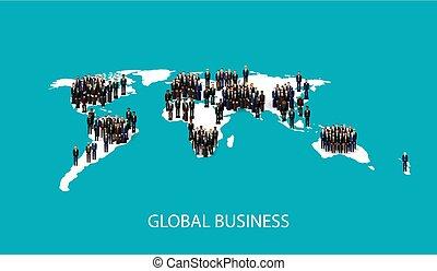 staand, plat, zakenlui, worl, illustratie, vector