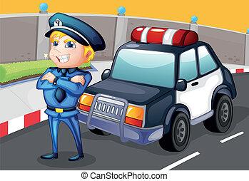 staand, politie, politieagent, auto, voorkant, het glimlachen