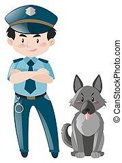 staand, politiehond, politieagent