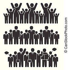 staand, positie, groep, zakenlui