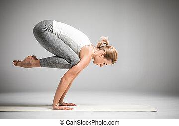staand, positie, vrouw,  yoga