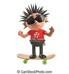 staand, punker, karakter, illustratie, skateboard, rots, spotprent, 3d