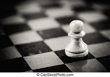 staand, schaakbord, witte , schaakspel, pion