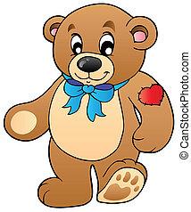 staand, schattig, beer, teddy