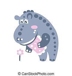 staand, schattig, bloem, nijlpaard, karakter, illustratie, het kijken, vector, spotprent