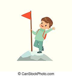 staand, schattig, concept, geitjes, bergtop, vlag, illustratie, wih, vector, jongen, achtergrond, activiteit, witte , lichamelijk