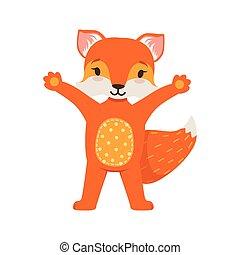 staand, schattig, op, gekke , karakter, vos, illustratie, vector, het poseren, bos, dier, handen, sinaasappel, spotprent