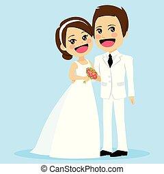 staand, schattig, paar, trouwfeest, omhelzen