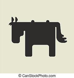 staand, schattig, plein, silhouette, zijwaarts, vorm, paarde
