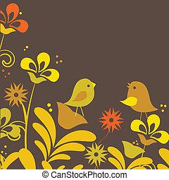 staand, schattig, spotprent, vogels, tekening
