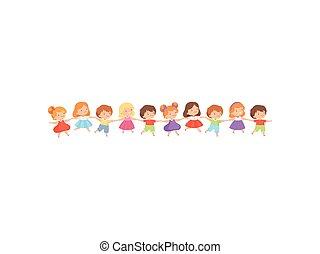 staand, schattig, weinig; niet zo(veel), geitjes, meiden, samen, spelend, jongens, vector, illustratie, vasthouden, roeien, handen, spotprent, vrolijke