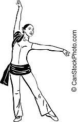 staand, schets, pose, meisje, dancing