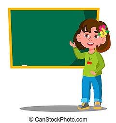 staand, school, vrijstaand, illustratie, plank, vector., schoolgirl, stand