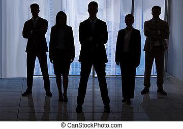 staand, silhouette, kantoor, zakenlui
